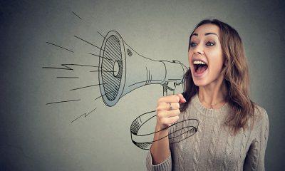 marketing-lady holding megaphone