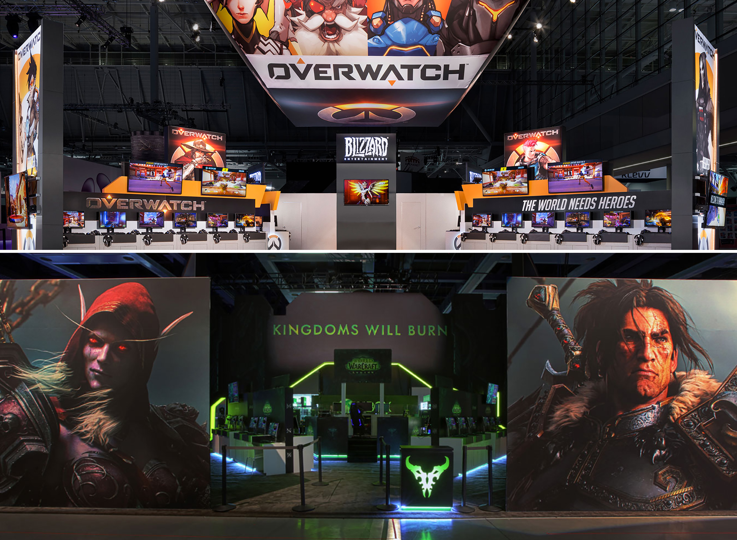 Dye sublimated, tensioned fabric and SEG graphics with florescent inks printed by Olympus Group featured on tradeshow floors.